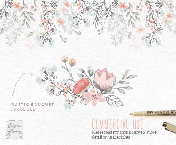 Floral Border Bouquet Rustic Hand Drawn Clipart