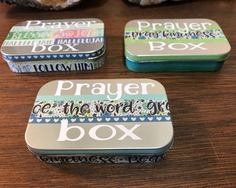 OMBRE teal blues and sliver PRAYER BOX peace t faith t blessing box