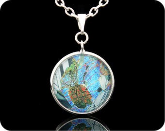 Geology necklace - Gabbro from Huntly, Scotland rock thin section Pendant (P43)