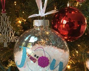 Glass Christmas ornament snowman joy and snow