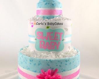 Girl diaper cake | Baby shower gift | Baby shower decoration | New mom gift | Baby diaper cake | Diaper centerpiece | Girl baby shower