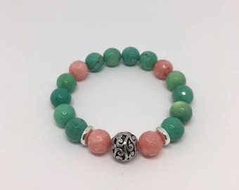 10mm Pink and Green Stretch Cord Bracelet