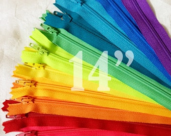 colorful zippers 14 inch zippers ykk zippers assorted zippers nylon zippers 14 inch zips 12 ykk zips wholesale zippers - 12 pieces NYL14