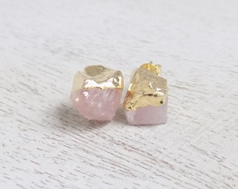 Rose Quartz Stud Earrings, Raw Rose Quartz Earrings, Light Pink Gemstone Earrings, Chunky Stone Posts Gold Posts Raw Stone Posts Gift G7-812