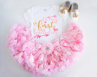 1st birthday girl outfit- first birthday outfit, Pink tutu cake smash, first birthday outfit, pink and gold, first birthday girl outfit
