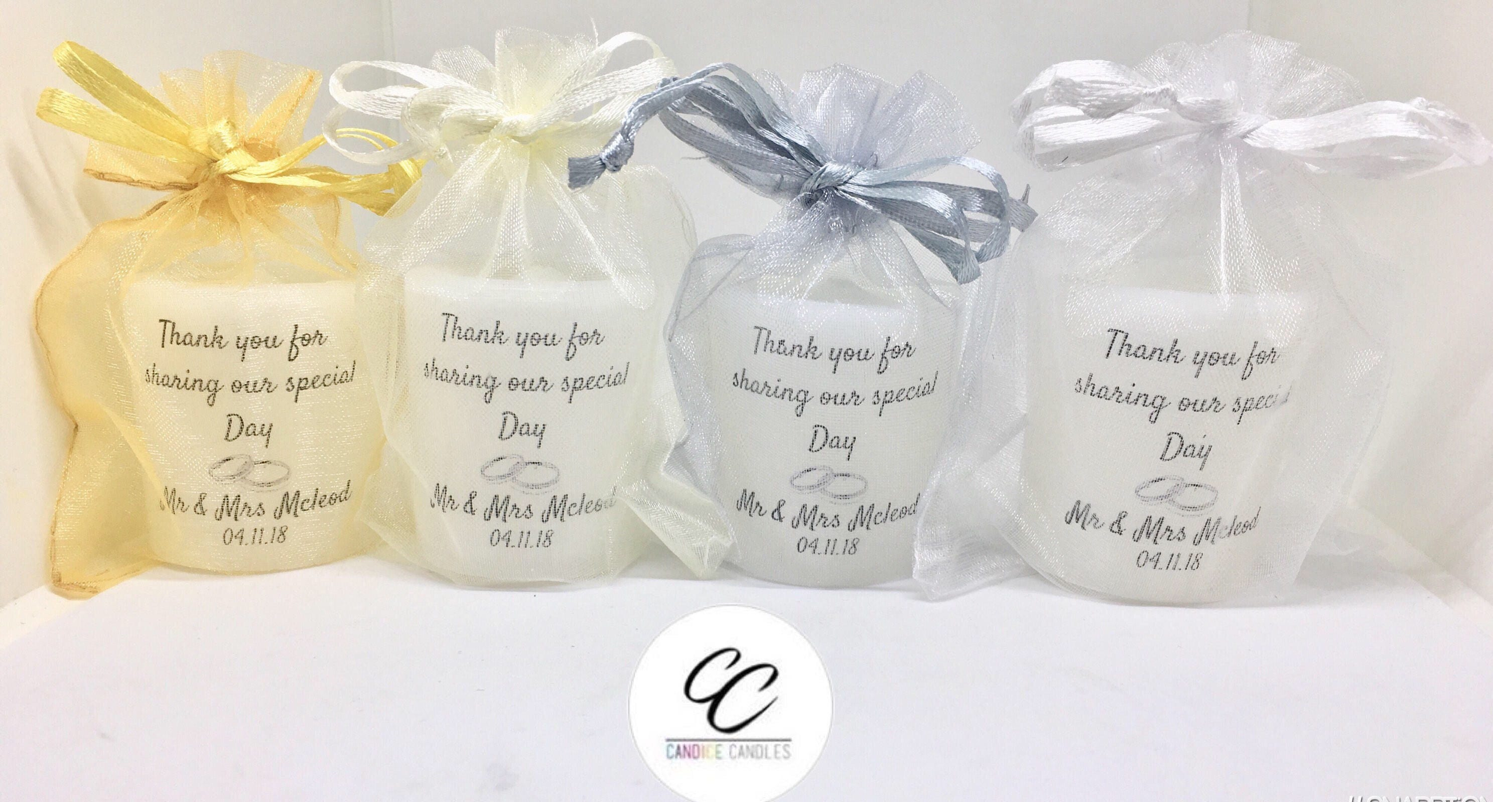 100 Scented GiftSet of Large Handmade Personalised Wedding Votive ...