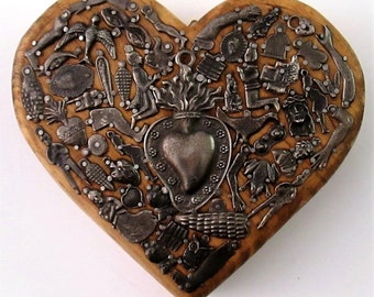 Milagros Heart Mexican Milagro Charms Ex Voto Sacred Heart Carved Wood Heart