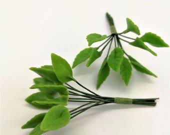 Miniature Polymer Clay Leaves for Dollhouse Mini Garden Decoration 20 stems