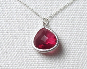 Ruby Red Drop Necklace Sterling Silver or Rhodium Chain Teardrop Pretty Faceted Stone Bridesmaid Gift Minimal Necklace