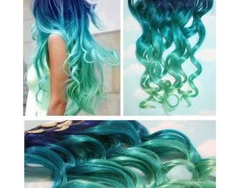 Blue Lagoon, Blue Green Ombre Dip Dyed Human Hair Extensions, Half Set Clip In Extensions, Hippie, Festival, Tye Dye Hair, Hair Weft
