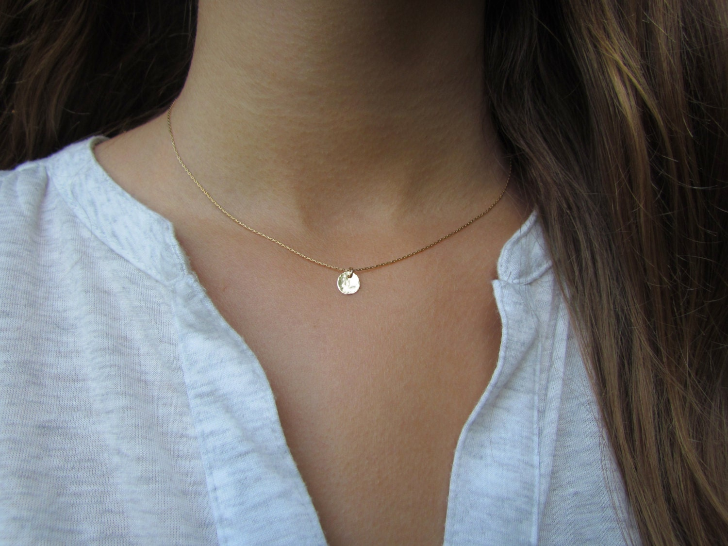 necklace dainty hammered gold il tiny fullxfull listing moon crescent