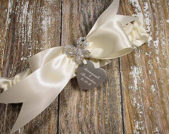 Personalized Butterfly Wedding Garter in Ivory Satin with a Rhinestone Butterfly and Engraving