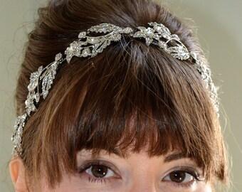 Bridal headpiece silver wedding headpiece crystal flower headpiece Swarovski crystal flower leaf headpiece.  AMELIE