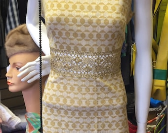 Fab Gold Dress with Lace Panel Size 12/14
