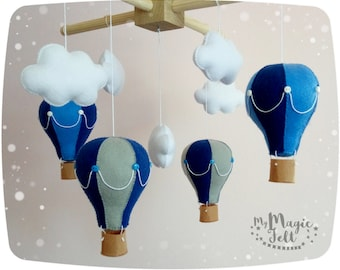Baby mobile Hot air balloons Baby mobile clouds and balloons Baby boy mobile Travel baby mobile Blue baby mobile Balloons nursery mobile