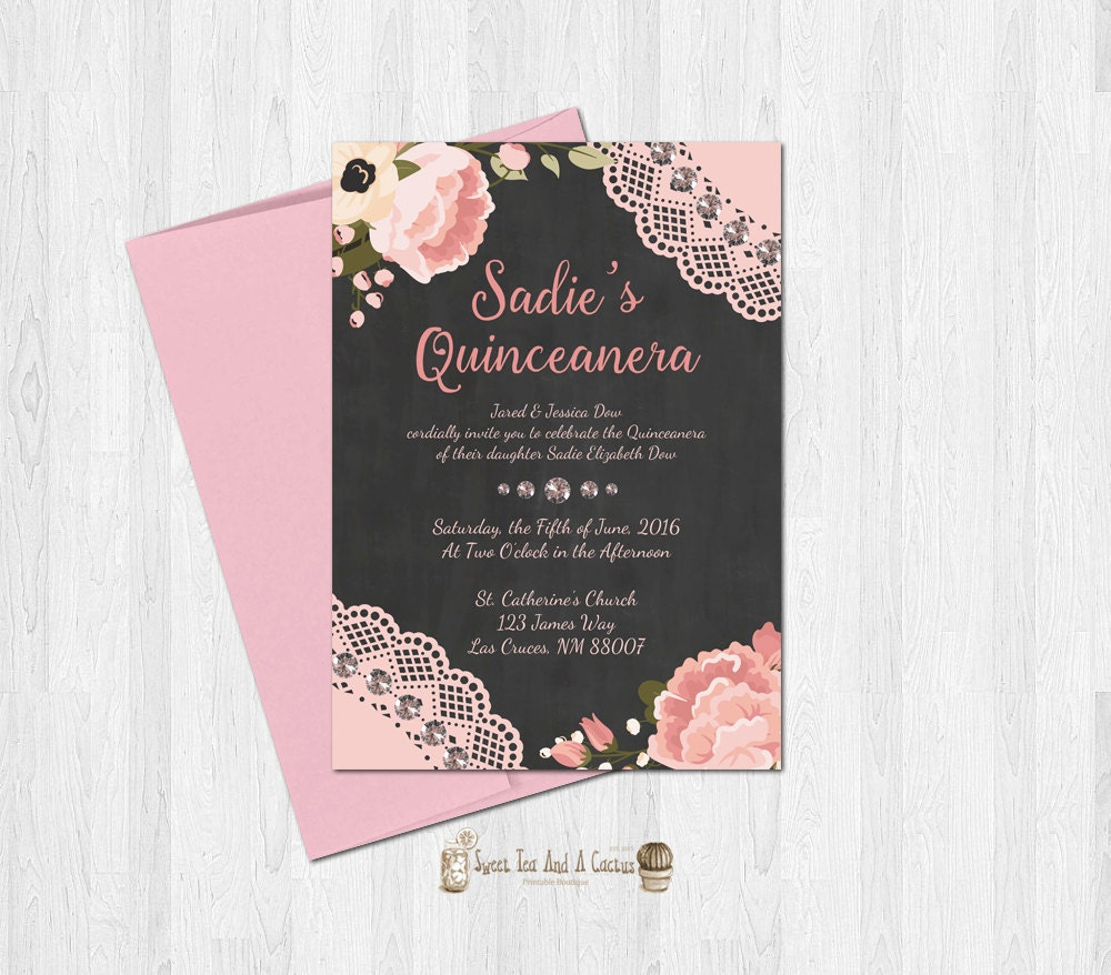 Quinceanera Invitation Pink Floral Rustic Blush and Peach