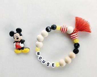 Personalized Mickey Mouse Bracelet, Disney Jewelry, Disney Bracelet, Mickey Mouse