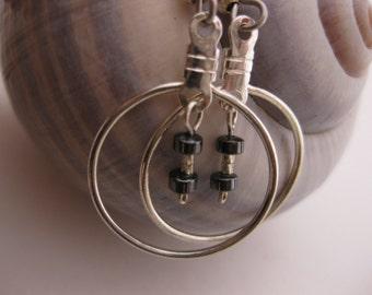 Hemalyke Metallic Mini Dangle Earrings - Single Circle of Silver w/Dangling Hemalyke Rondelles & Hill Tribes Sterling Silver Beads