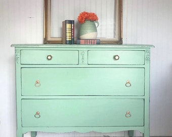 Mint Green Dresser Chest of Drawers Changing Table Gold Hardware Distressed Chippy