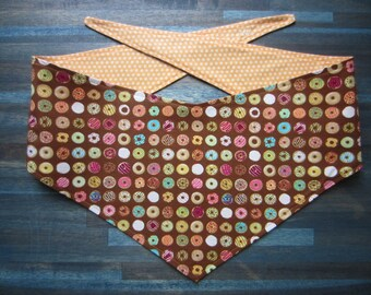 M-Lg reversible tie on dog bandana - donuts/orange dots Kanine Kerchief