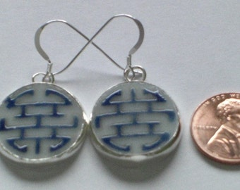 Blue Zodiac - Upcycled Chinese Pottery Shard Earrings on Sterling Silver Earwires