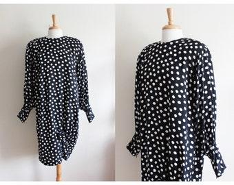 Vintage 1980s Black Polka Dot Silk Dress