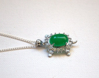 Green jade turtle necklace Valentine gift for her Gemstone pendant necklace silver plated jewelry jewellery Birthday gift for her