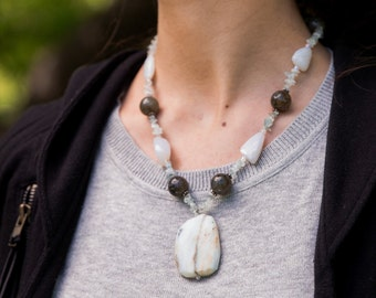 Opa!  Opal, Aquamarine, Labradorite, Swarovski Crystal & Sterling Silver Necklace.