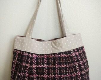 PLEATED TOTE - pink X brown tweed with polka dot handles