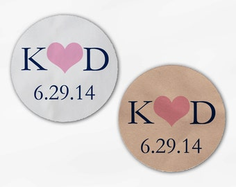 Initials & Heart Wedding Favor Stickers - Navy and Pink Custom White Or Kraft Round Labels for Bag Seals, Envelopes, Mason Jars (2004)