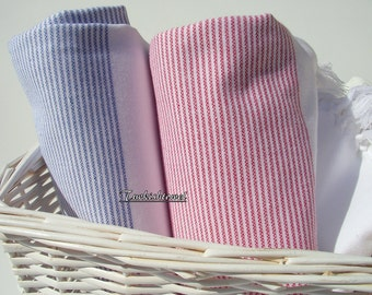 Set of 2-Turkishtowel-Peshtemal-High Quality,Turkish Cotton,Bath,Beach,Spa,Yoga,Pool Towel or Sarong-Grey and Fuchsia Stripes on White