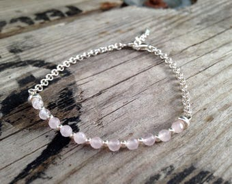 Bracelet in silver and Rose Quartz gemstones