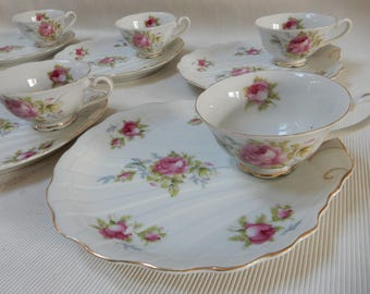 Lefton Moss Rose Snack Plates, Set of 6, Mid Century