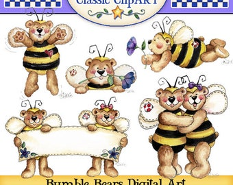 Bear Clipart, Bumble Bee Clipart, Laurie Furnell,Bears dressed as Bees,Bear digital art,Cardmaking clipart,Card making supplies,Scrapbooking