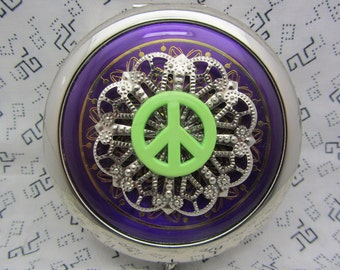 Compact Mirror Green Peace Sign on Purple Comes With Protective Pouch