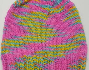 Child's size Sm/Med hand knit alpaca hat hand dyed yarn