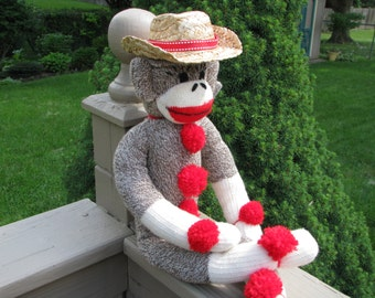 Sock Monkey Doll and Cowboy Hat Gift Set Handmade Brown BopBo the Monkey