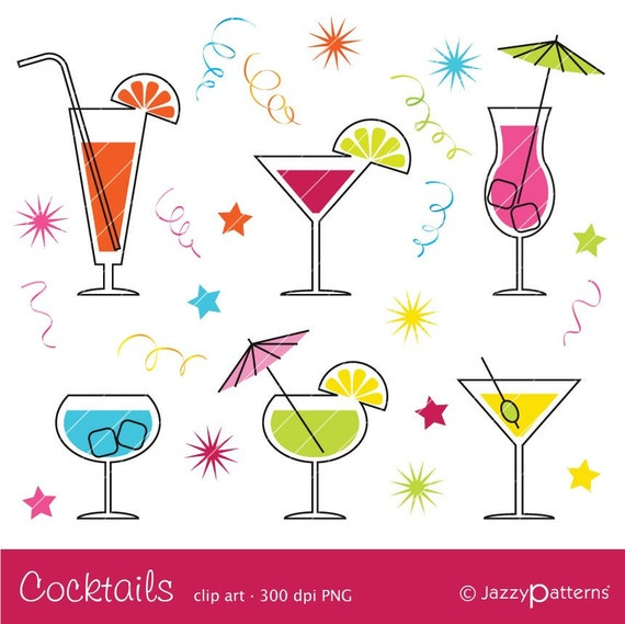 cocktail clipart ca017 instant download rh etsy com cocktail clipart no background cocktail clipart png