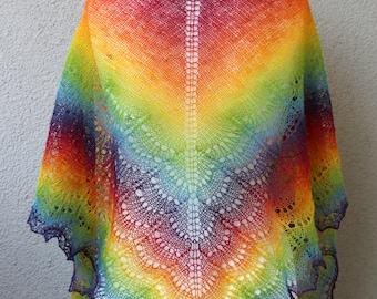 rainbow shawl, handknit colorful scarf, spring shawl, estonian wool shawl, triangle shawl, MADE TO ORDER