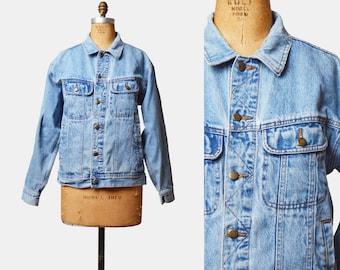 Vintage 90s Denim Jacket WRANGLER Jean Jacket / 1990s Denim Faded Blue Coat Trucker Retro Grunge Hipster Medium