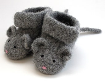 NEW Little Mouse Felted Merino Baby Booties