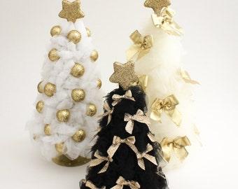 Gold Christmas Tree Tulle Christmas Tree Christmas Decorations Christmas  Decor White Ivory Black Tree Gold Christmas