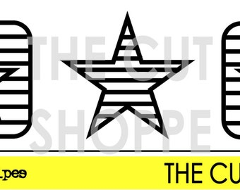 The Stars & Stripes Cut File is a set of three different star shapes.