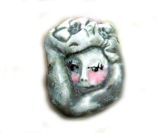 handmade Focal Bead, Handmade Face bead, OOAK bead,  loose  Pendant bead  -   green bead -  #  36