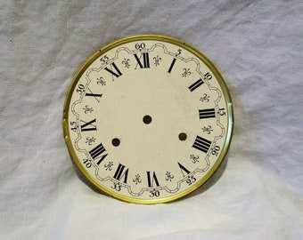 Vintage Clock Face, Roman Numerals and Harps, Salvaged From Vintage Grandfather Clock