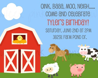 Farm Animal Party- Invitation