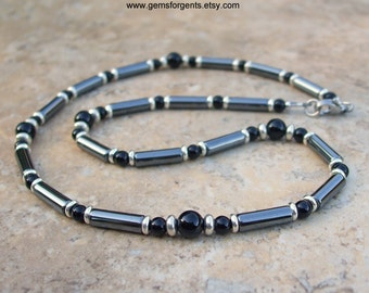 Gray Hematite and Black Onyx, Mens Beaded Necklace, Mens Jewelry – N66