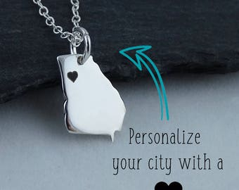 Personalized Georgia State Charm Necklace with Engraved Heart Near Your City - 925 Sterling Silver