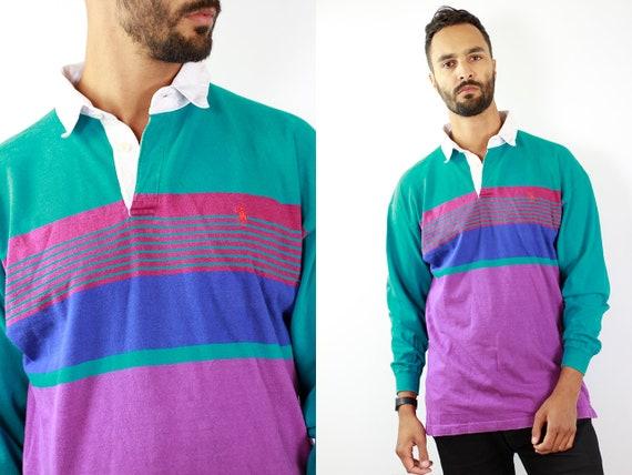 Ralph Lauren Shirt Ralph Lauren Polo Shirt Striped Poloshirt Vintage Polo Shirt 90s Polo Shirt 90s Poloshirt Striped Shirt