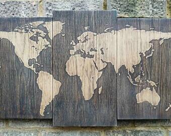 Solid Oak World map